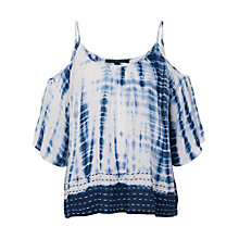 Buy French Connection Holiday Wave Cut-Out Shoulder Top, Indigo Online at johnlewis.com