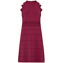 Buy Ted Baker Natleah Scallop Detail Ribbed Dress, Oxblood Online at johnlewis.com