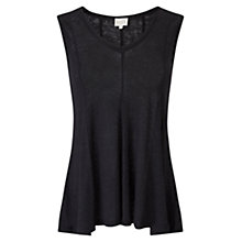 Buy East Godet Jersey Linen Top, Black Online at johnlewis.com