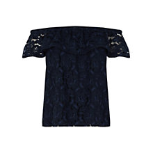 Buy Oasis Lace Bardot Top, Navy Online at johnlewis.com