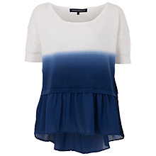 Buy French Connection Dip Dye Knitted Top, White/Indigo Online at johnlewis.com