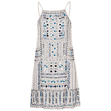 Buy French Connection Island Maze Strappy Dress, Salt Water Blue/White Online at johnlewis.com