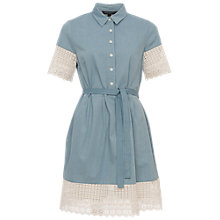 Buy French Connection Holiday Lace Short Sleeve Dress, Indigo/Summer White Online at johnlewis.com