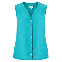 Buy East Linen Sleeveless Shirt, Lagoon Online at johnlewis.com
