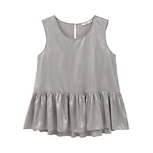 Buy Mango Sleeveless Ruffled Hem Top, Silver Online at johnlewis.com