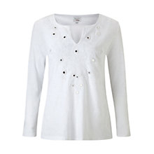 Buy East Embellished Cotton Top, White Online at johnlewis.com