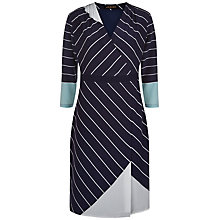 Buy Jaeger Graphic Stripe Silk Dress, Navy/Ivory Online at johnlewis.com