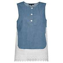 Buy French Connection Holiday Lace Top, Indigo/Summer White Online at johnlewis.com