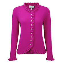 Buy Pure Collection Ruffle Edge Cardigan, Vivid Magenta Online at johnlewis.com