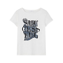 Buy Mango Printed Cotton-Blend T-Shirt, White Online at johnlewis.com