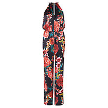 Buy Karen Millen Silk Floral Print Jumpsuit, Multi Online at johnlewis.com