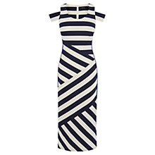 Buy Karen Millen Striped Midi Dress, Blue/Multi Online at johnlewis.com