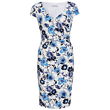 Buy Gina Bacconi Floral Print Textured Jersey Wrap Dress, Blue Online at johnlewis.com