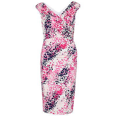 Gina Bacconi Abstract Print Jersey Wrap Dress, Rose Pink
