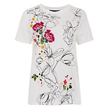 Buy French Connection Peonie Stitch Short Sleeve T-Shirt, White Multi Online at johnlewis.com