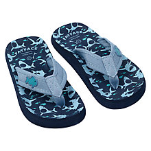 Buy Fat Face Children's Camber Shark Flip Flops, Blue Online at johnlewis.com