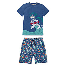 Buy Fat Face Boys' Jawsome Shortie Pyjama Set, Blue Online at johnlewis.com