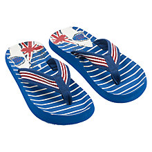 Buy Fat Face Children's Union Jack Shark Flip Flops, Blue Online at johnlewis.com