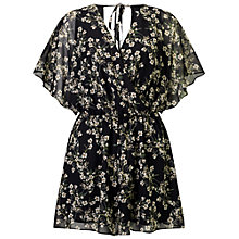 Buy Miss Selfridge Floral Wrap Front Playsuit, Black Online at johnlewis.com