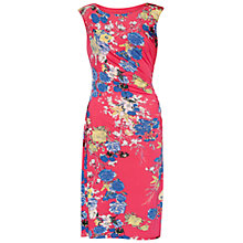 Buy Gina Bacconi Bright Floral Ruched Jersey Dress, Cerise Online at johnlewis.com