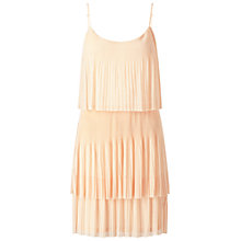 Buy Miss Selfridge Blush Layer Plisse Dress, Nude Online at johnlewis.com