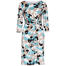Buy Gina Bacconi Printed Ruched Jersey Dress, Beige Online at johnlewis.com