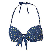Buy Fat Face Dobby Texture Plunge Bikini Top, Indigo Online at johnlewis.com
