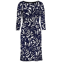 Buy Gina Bacconi Leaf Print Ruched Jersey Dress, Navy Online at johnlewis.com