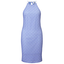 Buy Miss Selfridge 90s Neck Textured Bodycon Dress, Blue Online at johnlewis.com