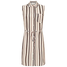 Buy Miss Selfridge Petite Stripe Shirt Dress, Ivory Online at johnlewis.com