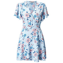 Buy Miss Selfridge Petite Floral Wrap Dress, Pale Blue Online at johnlewis.com