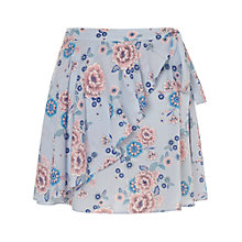 Buy Miss Selfridge Petite Floral Wrap Mini Skirt, Blue Online at johnlewis.com