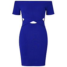 Buy Miss Selfridge Petite Bardot Cut Out Dress, Mid Blue Online at johnlewis.com