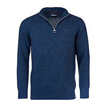 Buy Barbour Essential Half Zip Wool Jumper, Navy Mix Online at johnlewis.com