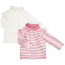 Buy John Lewis Baby Roll Neck Top, Pack of 2, Pink/Cream Online at johnlewis.com