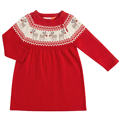 John Lewis Baby Knitted Reindeer Dress Red