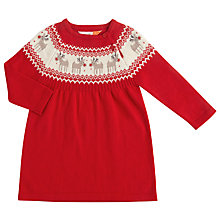 Buy John Lewis Baby Knitted Reindeer Dress, Red Online at johnlewis.com