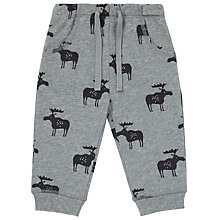 Buy John Lewis Baby Moose Drawstring Joggers, Grey Online at johnlewis.com