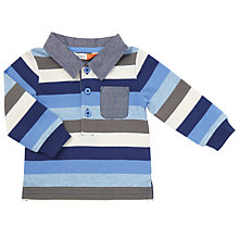 Buy John Lewis Baby Stripe Rugby Shirt, Blue/White Online at johnlewis.com