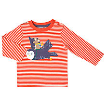Buy John Lewis Baby Flying Owl Mouse T-Shirt, Orange/White Online at johnlewis.com