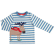 Buy John Lewis Baby Moose Stripe T-Shirt, Blue Online at johnlewis.com