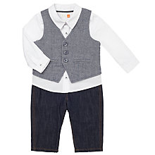 Buy John Lewis Baby Shirt, Waistcoat and Jeans Set, Blue/White Online at johnlewis.com