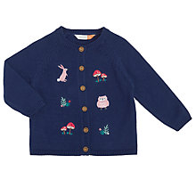 Buy John Lewis Baby Embroidered Woodland Cardigan, Navy Online at johnlewis.com