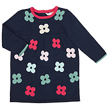 Buy John Lewis Baby Floral Knitted Dress, Navy Online at johnlewis.com
