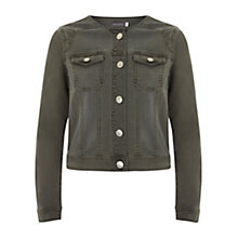 Buy Mint Velvet Collarless Denim Jacket, Khaki Online at johnlewis.com