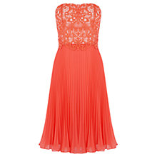 Buy Oasis Lace Bandeau Midi Dress, Coral Online at johnlewis.com