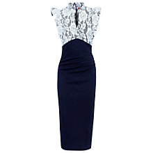 Buy Jolie Moi Lace Bonded Ruffle Dress, Blue/White Online at johnlewis.com