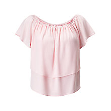 Buy Miss Selfridge Petite Frill Bardot Top, Pink Online at johnlewis.com