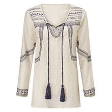 Buy Jigsaw Embroidered Kaftan Tassel Top, White Online at johnlewis.com