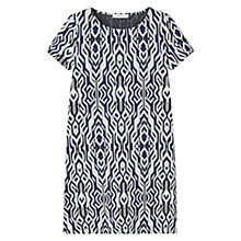 Buy Mango Texture Panel Dress, White/Navy Online at johnlewis.com